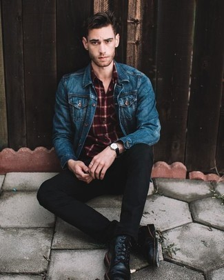 How to Wear a Blue Denim Jacket For Men: Consider teaming a blue denim jacket with black jeans to create a day-to-day ensemble that's full of charm and character. Introduce a pair of black leather casual boots to the mix to immediately boost the fashion factor of your ensemble.
