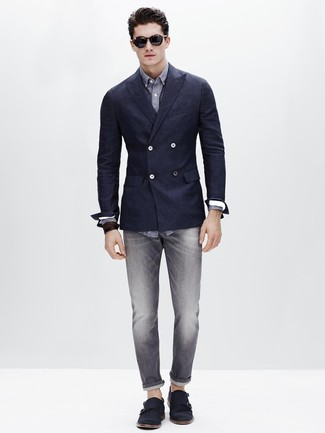 How to wear: navy suede double monks, grey jeans, charcoal polka dot long sleeve shirt, navy double breasted blazer