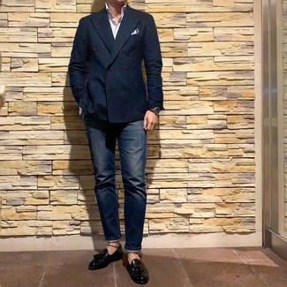 How to wear: black leather tassel loafers, navy jeans, white vertical striped long sleeve shirt, navy double breasted blazer