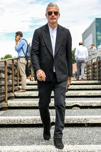 How to Wear Brown Sunglasses For Men: A sharp combination of a black double breasted blazer and brown sunglasses will bring confidence and you'll carry yourself with more self-assurance. On the fence about how to complement your ensemble? Wear black suede chelsea boots to elevate it.