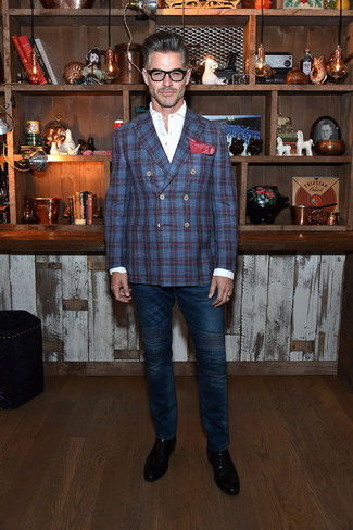 Fashion for Men Over 50: What To Wear: A navy plaid double breasted blazer and navy jeans are among the fundamental elements in any gent's great wardrobe. Boost the dressiness of this look a bit by wearing a pair of black leather chelsea boots.
