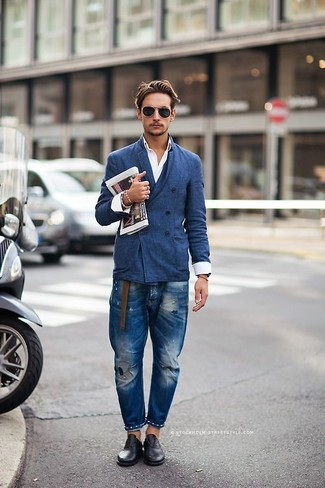 How to wear: black leather oxford shoes, blue ripped jeans, white long sleeve shirt, blue double breasted blazer