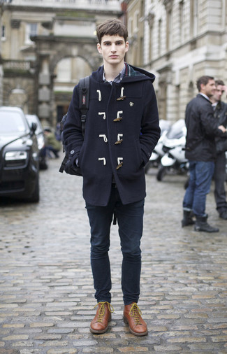 How to Wear Brown Leather Casual Boots For Men: Channel your inner fashionisto and pair a navy duffle coat with navy jeans. Add brown leather casual boots to the equation to pull the whole thing together.