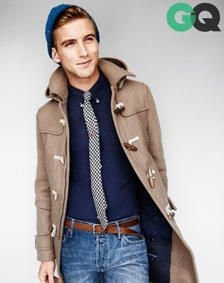 How to wear: blue beanie, blue jeans, navy long sleeve shirt, camel duffle coat