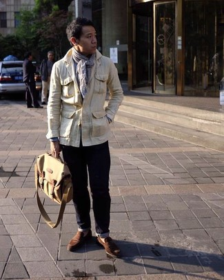 How to wear: brown suede loafers, navy jeans, light blue long sleeve shirt, beige field jacket