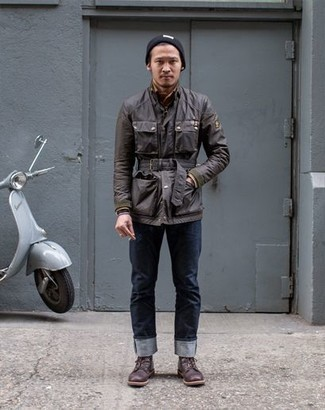 How to Wear Boots For Men: A dark brown field jacket and navy jeans are the kind of a tested off-duty outfit that you need when you have no time to spare. If you want to immediately rev up this ensemble with shoes, why not complement this ensemble with a pair of boots?