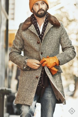 How to wear: orange beanie, grey jeans, white long sleeve shirt, brown fur collar coat