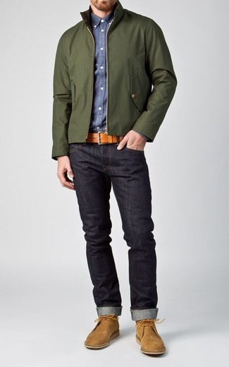 How to wear: tan suede desert boots, navy jeans, blue chambray long sleeve shirt, dark green harrington jacket
