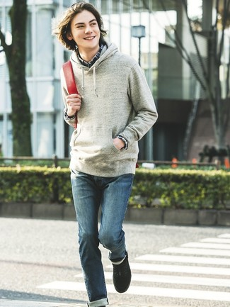 How to wear: black low top sneakers, blue jeans, navy plaid long sleeve shirt, grey hoodie