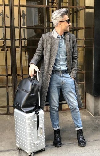 How to Wear a Black Leather Backpack For Men: For a laid-back and cool look, wear a grey overcoat with a black leather backpack — these items play perfectly well together. Black leather casual boots are a simple way to inject a touch of sophistication into this look.