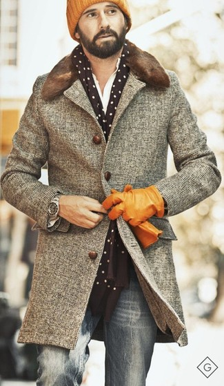 How to wear: orange beanie, grey jeans, white long sleeve shirt, grey houndstooth overcoat