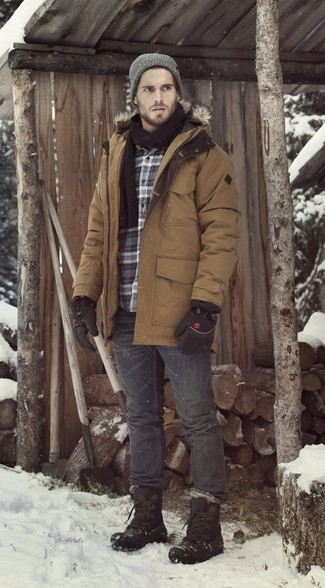 How to Wear Charcoal Jeans For Men: If you're searching for a relaxed casual but also on-trend getup, try pairing a brown parka with charcoal jeans. And if you need to effortlesslly tone down this outfit with footwear, add a pair of black snow boots to the mix.