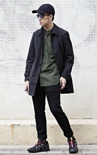 How to Wear a Black Raincoat For Men: Go for a black raincoat and black jeans to showcase your styling skills. Complete this look with a pair of black athletic shoes to make a classic ensemble feel suddenly fresh.