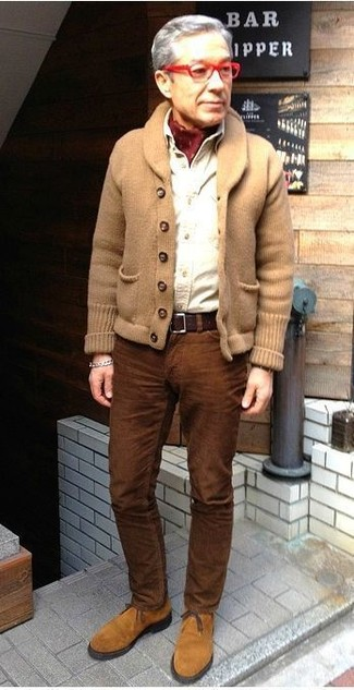 How to wear: tan suede desert boots, brown corduroy jeans, white long sleeve shirt, tan shawl cardigan