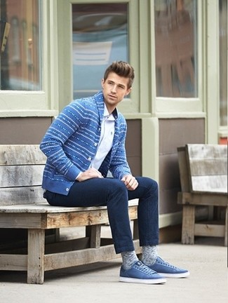 How to wear: blue low top sneakers, navy jeans, white long sleeve shirt, blue fair isle shawl cardigan
