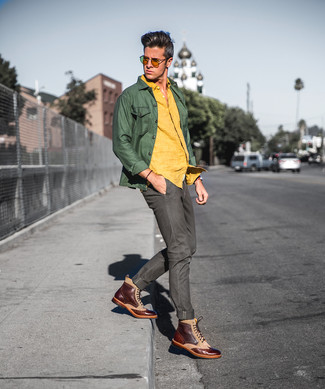 How to wear: brown leather brogue boots, olive jeans, yellow linen long sleeve shirt, olive shirt jacket