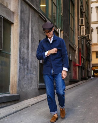 How to wear: tobacco suede loafers, blue jeans, white long sleeve shirt, navy wool shirt jacket