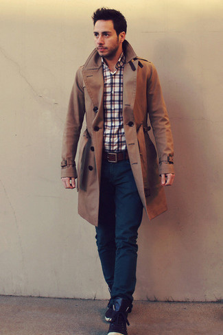 How to wear: dark brown leather high top sneakers, navy jeans, white and red and navy plaid long sleeve shirt, brown trenchcoat