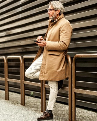 How to Wear Tobacco Leather Low Top Sneakers For Men: For a classic and casual menswear style, consider teaming a tan trenchcoat with white jeans — these items work really nice together. A pair of tobacco leather low top sneakers adds more character to an otherwise standard ensemble.