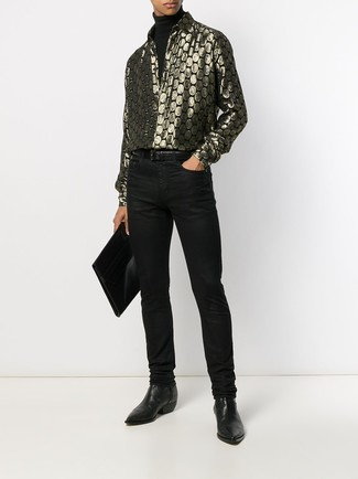 How to wear: black leather chelsea boots, black jeans, gold print long sleeve shirt, black turtleneck