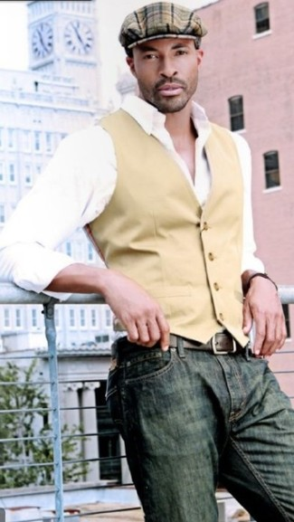 How to wear: brown plaid flat cap, olive jeans, white long sleeve shirt, tan waistcoat