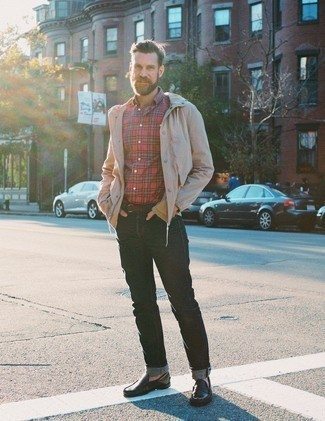 How to Wear a Dark Brown Leather Belt For Men: If you're on the hunt for an off-duty but also sharp ensemble, marry a beige windbreaker with a dark brown leather belt. Smarten up this outfit with the help of dark brown leather driving shoes.