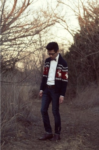 How to wear: brown leather derby shoes, navy jeans, white long sleeve shirt, navy fair isle zip sweater