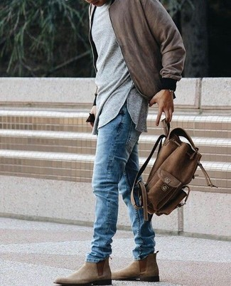 How to wear: brown suede chelsea boots, blue jeans, grey long sleeve t-shirt, brown bomber jacket