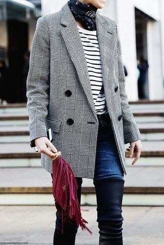 How to wear: black suede over the knee boots, navy jeans, white and black horizontal striped long sleeve t-shirt, grey plaid wool double breasted blazer