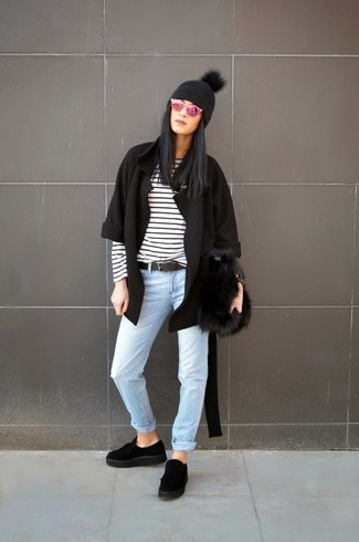How to wear: black suede platform loafers, light blue jeans, white and black horizontal striped long sleeve t-shirt, black open cardigan