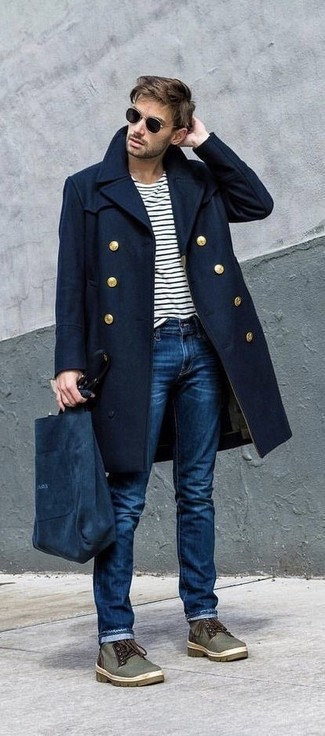 How to wear: olive canvas desert boots, blue jeans, white and black horizontal striped long sleeve t-shirt, navy overcoat