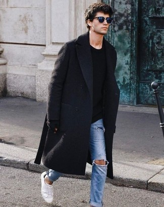 How to Wear Light Blue Ripped Jeans For Men: This pairing of a black overcoat and light blue ripped jeans is well-executed and yet it looks easy enough and ready for anything. When not sure about the footwear, add a pair of white canvas low top sneakers to this ensemble.