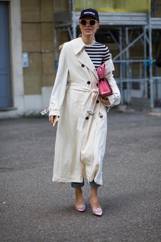 How to wear: pink embellished satin pumps, blue jeans, white and black horizontal striped long sleeve t-shirt, white trenchcoat