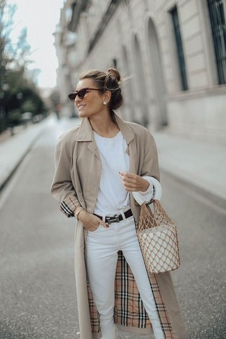 How to wear: white leather bucket bag, white jeans, white long sleeve t-shirt, beige trenchcoat