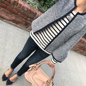 How to wear: navy suede pumps, navy jeans, white and black horizontal striped long sleeve t-shirt, navy tweed jacket
