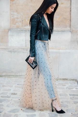 How to wear: black suede pumps, light blue jeans, beige polka dot tulle maxi dress, black quilted leather biker jacket