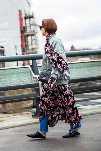 How to wear: black leather ballerina shoes, blue fringe jeans, black floral midi dress, grey bomber jacket