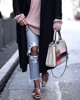 How to wear: pink satin pumps, light blue ripped jeans, pink oversized sweater, black coat