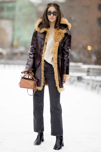 How to wear: black leather ankle boots, charcoal jeans, beige knit oversized sweater, burgundy shearling coat