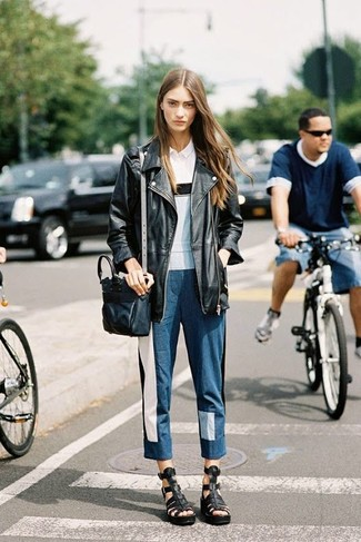 How to wear: black leather gladiator sandals, blue patchwork jeans, white polo, black leather biker jacket