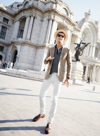 How to wear: brown leather loafers, white jeans, navy horizontal striped polo, brown plaid blazer