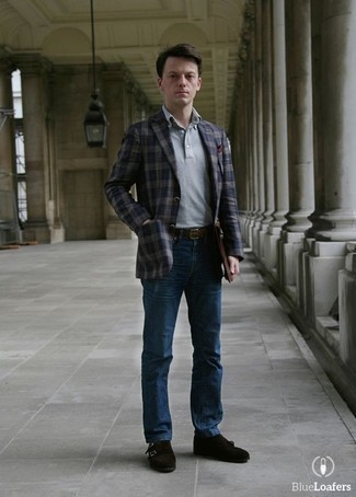 How to Wear a Navy Plaid Blazer For Men: A navy plaid blazer and navy jeans will allow you to flaunt your stylish side. For something more on the classier end to complete your ensemble, go for a pair of dark brown suede double monks.