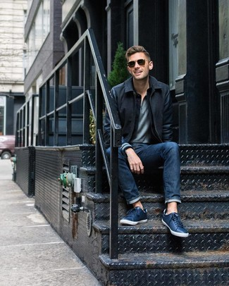 How to wear: navy leather low top sneakers, navy jeans, grey polo, black wool bomber jacket