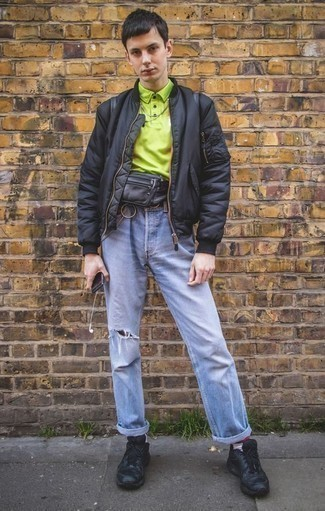 How to Wear a Black Leather Fanny Pack For Men: Consider wearing a black bomber jacket and a black leather fanny pack for a knockout and stylish getup. A pair of black athletic shoes integrates seamlessly within a myriad of looks.