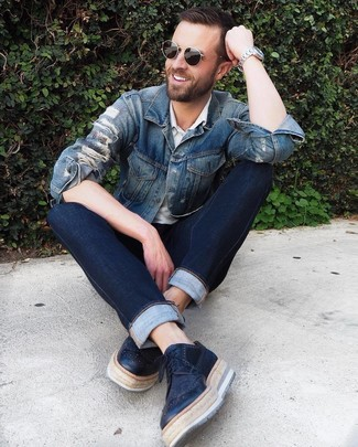 How to wear: black leather brogues, navy jeans, white polo, blue denim jacket