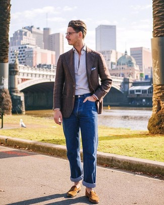 How to wear: tan suede loafers, blue jeans, grey polo neck sweater, brown wool blazer