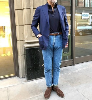 How to wear: brown suede derby shoes, blue jeans, navy polo neck sweater, navy blazer