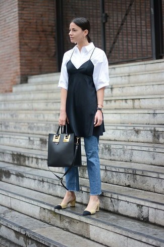 How to wear: black and tan leather pumps, blue jeans, white short sleeve button down shirt, black silk cami dress