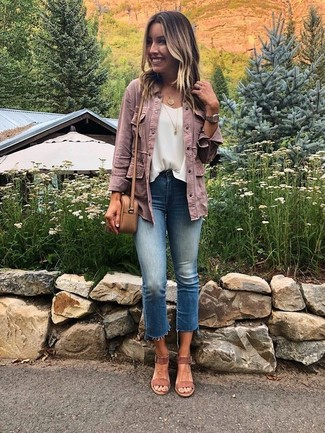How to wear: brown suede heeled sandals, blue jeans, white chiffon sleeveless top, pink denim jacket