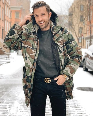 How to wear: black leather belt, black jeans, charcoal sweatshirt, olive camouflage parka